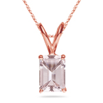 1.07-1.55 Cts of 8x6 mm AAA Quality Emerald Morganite Solitaire Pendant in 14K Rose Gold