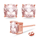 3.79-4.23 Cts of 8 mm AAA Cushion Checkered Morganite Solitaire Earrings in 14K Rose Gold