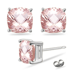 4.88-5.26  Cts of 9 mm AAA Cushion Checkered Morganite Solitaire Earrings in 14K White Gold