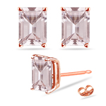 5.96-6.33 Cts of 10x8 mm AAA Emerald-cut Morganite Solitaire Earrings in 14K Rose Gold