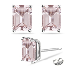 5.96-6.33 Cts of 10x8 mm AAA Emerald-cut Morganite Solitaire Earrings in 14K White Gold