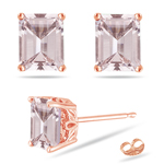 3.54-3.80 Cts of 9x7 mm AAA Emerald-cut Morganite Scroll Solitaire Earrings in 14K Rose Gold