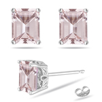5.96-6.33  Cts of 10x8 mm AAA Emerald-cut Morganite Scroll Solitaire Earrings in 14K White Gold