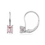 9x7 mm AAA Emerald-cut Morganite Scroll Solitaire Earrings in 14K White Gold