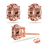 2.88-3.92  Cts of 9x7 mm AAA Oval Morganite Stud Earrings in 14K Rose Gold