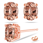 4.29-5.08 Cts of 10x8 mm AAA Oval Morganite Scroll Solitaire Earrings in 14K Rose Gold