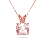 1.10-1.44 Cts of 7 mm AAA Quality Cushion Checkered Morganite Scroll Solitaire Pendant in 14K Rose Gold