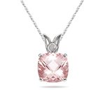 3.20-3.77 Cts of 10 mm AAA Quality Cushion Checkered Morganite Scroll Solitaire Pendant in 14K White Gold