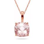 3.20-3.77 Cts of 10 mm AAA Quality Cushion Checkered Morganite Solid Bail Scroll Solitaire Pendant in 14K Rose Gold