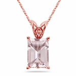 1.30-1.60 Cts of 8x6 mm AAA Quality Emerald Morganite Scroll Solitaire Pendant in 14K Rose Gold