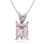 1.21-1.48 Cts of 8x6 mm AAA Quality Emerald Morganite Scroll Solitaire Pendant in Platinum