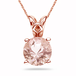 0.79-1.01 Ct of 6.5 mm AAA Quality Round Morganite Scroll Solitaire Pendant in 14K Rose Gold