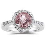 0.21 Cts Diamond & 1.72 Cts of 8 mm AA Round Morganite Ring in 14K White Gold