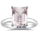 2.35-3.00 Cts of 10x8 mm AA Emerald Cut Morganite Solitaire Ring in 14K White Gold