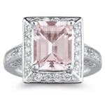 0.95 Cts Diamond & 3.02 Morganite Ring in 14K White Gold