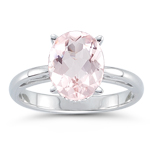 2.12 Cts of 10x8 mm AA Oval Morganite Solitaire Scroll Ring in 14K White Gold