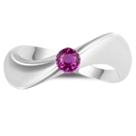 0.30 Ct 4 mm AA Round Pink Sapphire Solitaire Wave Ring-14K White Gold