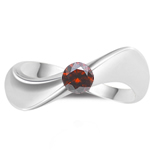1/4 Cts Red Diamond Solitaire Wave Ring in 14K White Gold