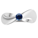 0.30 Ct 4 mm AA Round Blue Sapphire Solitaire Wave Ring-14K White Gold