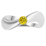 1/4 Ct Yellow Diamond Solitaire Wave Ring in 14K White Gold
