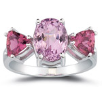 2.50 Cts Kunzite & 1.20 Cts Pink Tourmaline Ring in 10K White Gold
