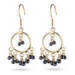 4.00 Cts Black Diamond Briolette Earrings in 18K Yellow Gold