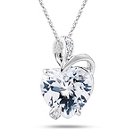 0.03 Cts Diamond & 3.00 Cts White Topaz Heart Pendant in 14K White Gold