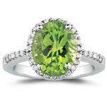 0.26 Cts Diamond & 2.50 Cts AAA Peridot Ring in 14K White Gold