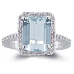 0.28 Cts Diamond & 2.70 Cts of 10x8 mm AA Emerald-Cut Aquamarine Ring in 14K White Gold