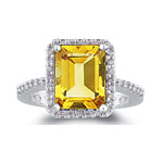 0.28 Ct Diamond & AAA Citrine Ring in 14K White Gold