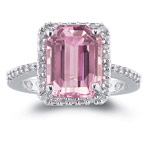 0.28 Ct Diamond & of 10x8 mm AA Emerald Kunzite Ring in 14K White Gold
