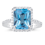0.28 Ct Diamond & AAA quality Blue Topaz Ring in 14K White Gold