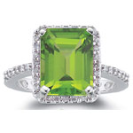 0.28 Cts Diamond & 3.00 Cts Peridot Ring in 14K White Gold