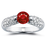 2/3 Cts Diamond & 1.00 Ct Ruby Ring in 14K White Gold