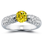 2/3 Ct Diamond & 1 Carat Yellow Diamond Ring in 14K White Gold