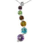 1.00 Ct AA Round Multi-Gemstone Journey Pendant in 14K White Gold