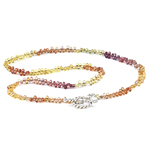 75.00 Cts of Multi Color Sapphire Bead Necklace in Shimmering Silver