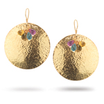 6.50 Cts Multi-Gemstone Earrings in Sterling Silver with Yellow Rhodium