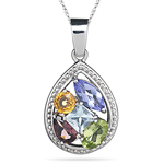 Multi Gemstone Pendant in 14K White Gold