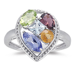 Multi Gemstone AA quality Ring in 14K White Gold