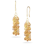 18.06 Cts Multi Sapphire Briolette Earrings in 18K Yellow Gold - Christmas Sale