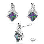 0.03 Ct Diamond & 2.23 Ct Mystic Fire Topaz Earrings in 14K White Gold - Christmas Sale