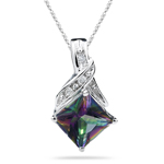 0.06 Cts Diamond & 1.84 Ct Mystic Fire Topaz Pendant in 14K White Gold