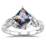 0.09 Cts Diamond & 2.06 Cts 7 mm AA Princess Mystic Fire Topaz Ring in 14KW Gold
