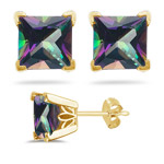 2.96 Cts of 6 mm AA Princess Mystic Green Topaz Scroll Stud Earrings in 14K Yellow Gold
