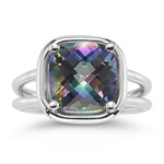 4.65 Cts of 10 mm AA Cushion Checker Board Mystic Green Topaz Solitaire Ring in 14K White Gold