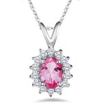 0.28 Ct Diamond & 1.46 Cts Mystic Pink Topaz Pendant in18K White Gold