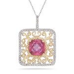Diamond & 2.35 Ct Mystic Pink Topaz Filigree Pendant-14K Two Tone Gold