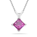 0.71 Ct 5 mm AA Princess Mystic Pink Topaz Solitaire Pendant in Silver