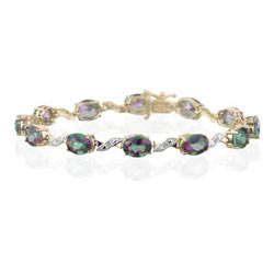 0.06 Cts Diamond & 19.20 Cts Mystic Topaz Bracelet in 14K Yellow Gold